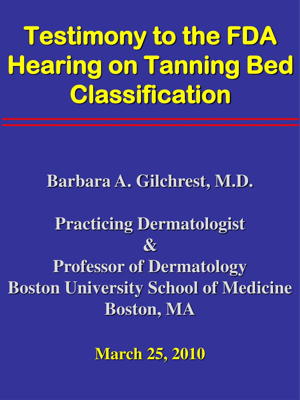 testimony to the fda hearing on tanning bed classification l.