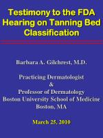 testimony to the fda hearing on tanning bed classification