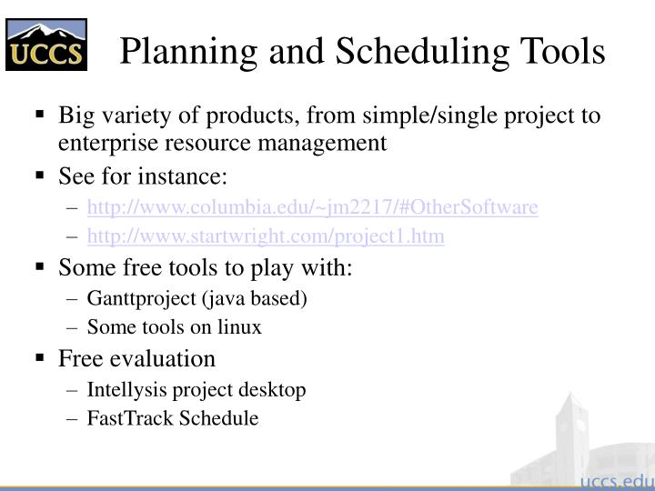 Planning and Scheduling Tools