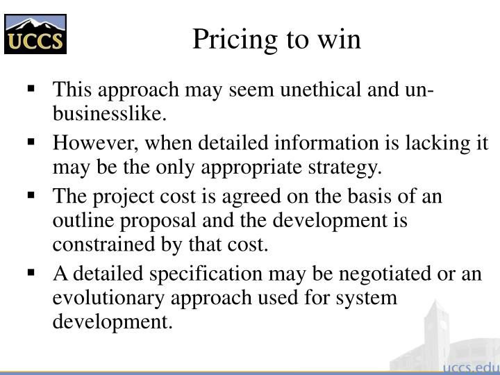 Pricing to win