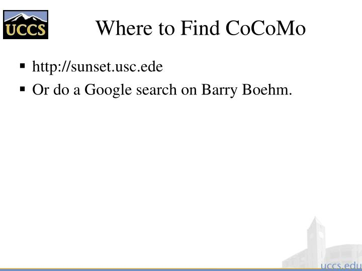 Where to Find CoCoMo