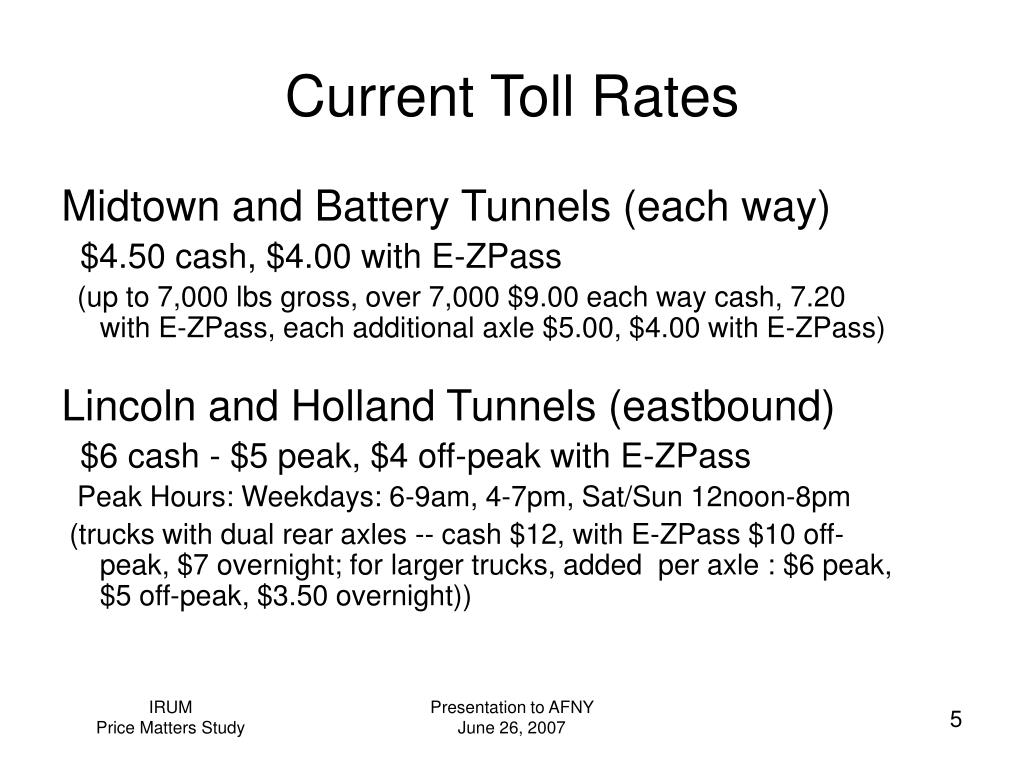 Current Toll Rates