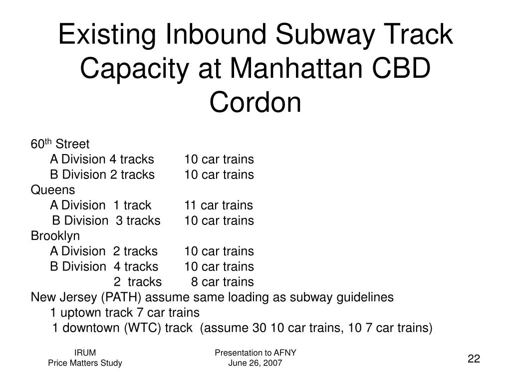 Existing Inbound Subway Track Capacity at Manhattan CBD Cordon