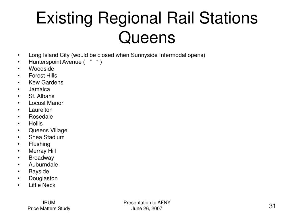 Existing Regional Rail Stations  Queens