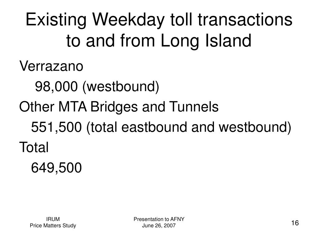 Existing Weekday toll transactions