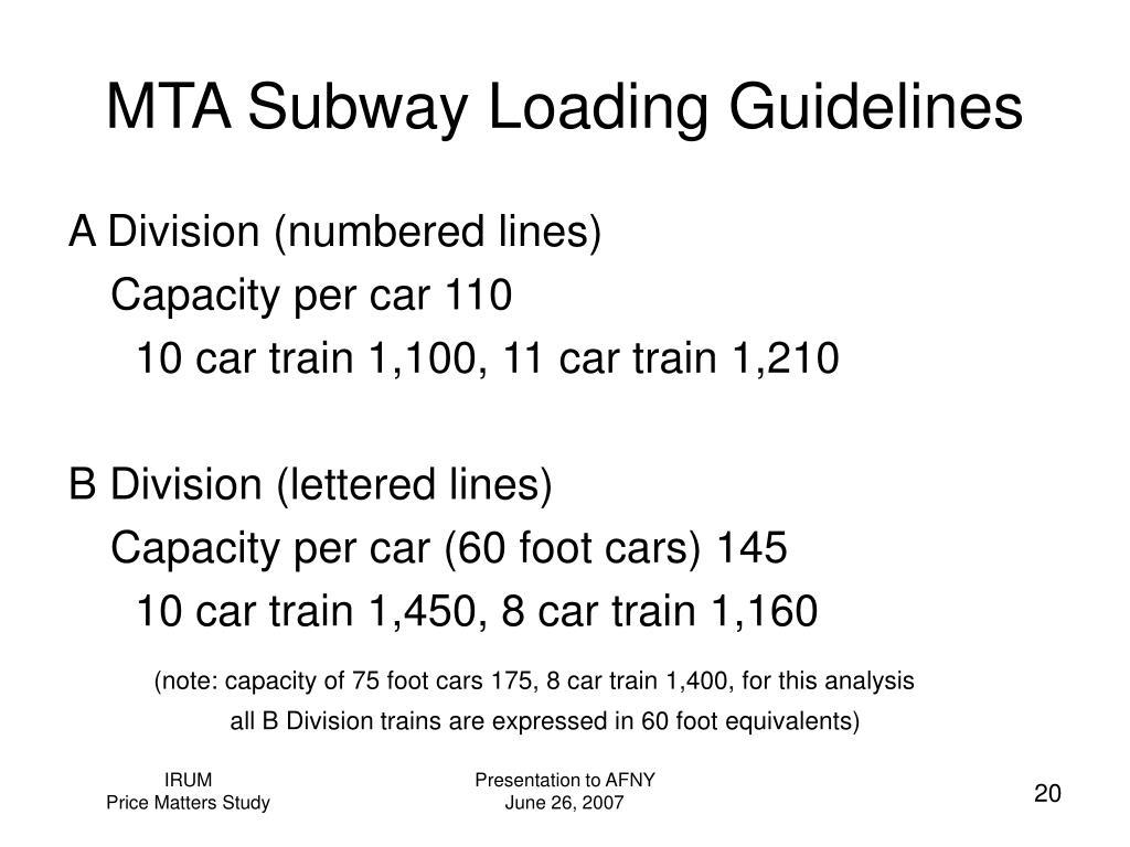 MTA Subway Loading Guidelines