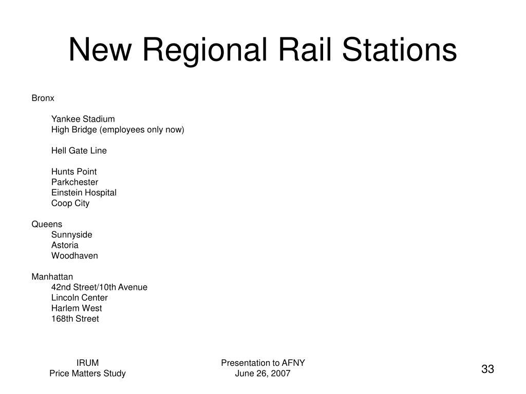New Regional Rail Stations