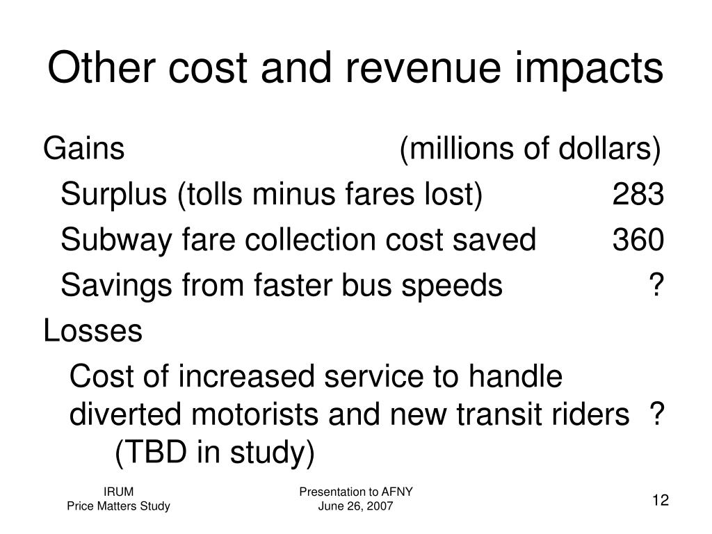Other cost and revenue impacts