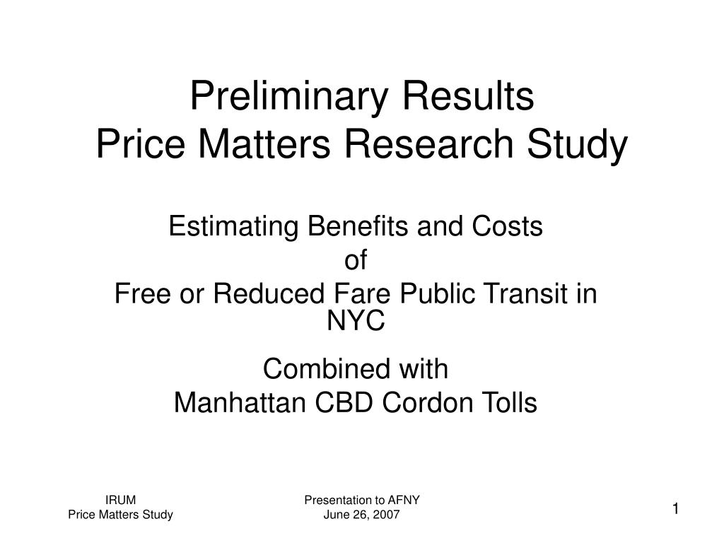 preliminary results price matters research study l.