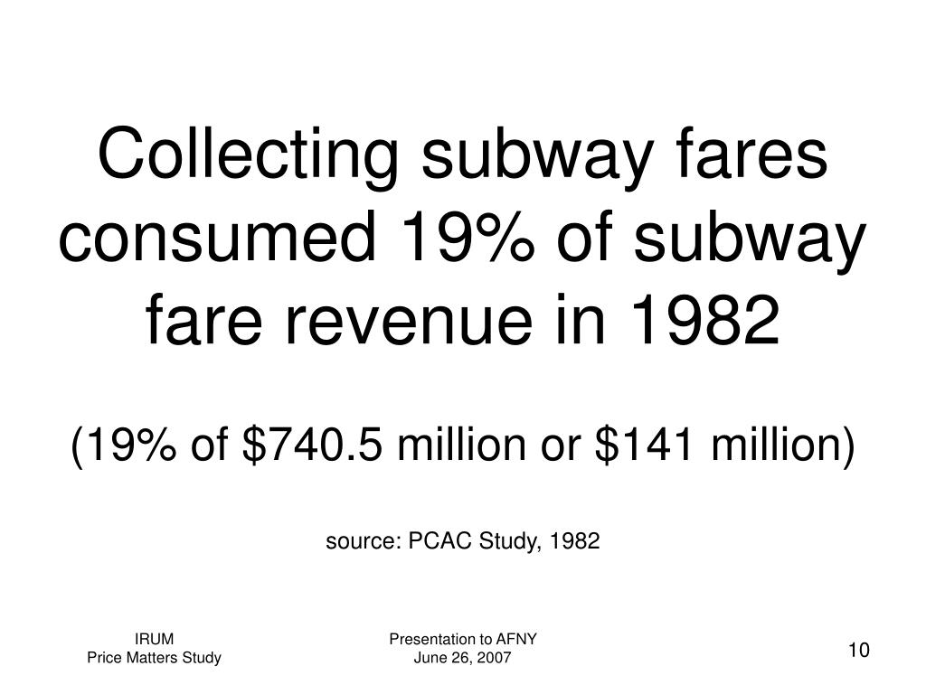 Collecting subway fares consumed 19% of subway fare revenue in 1982