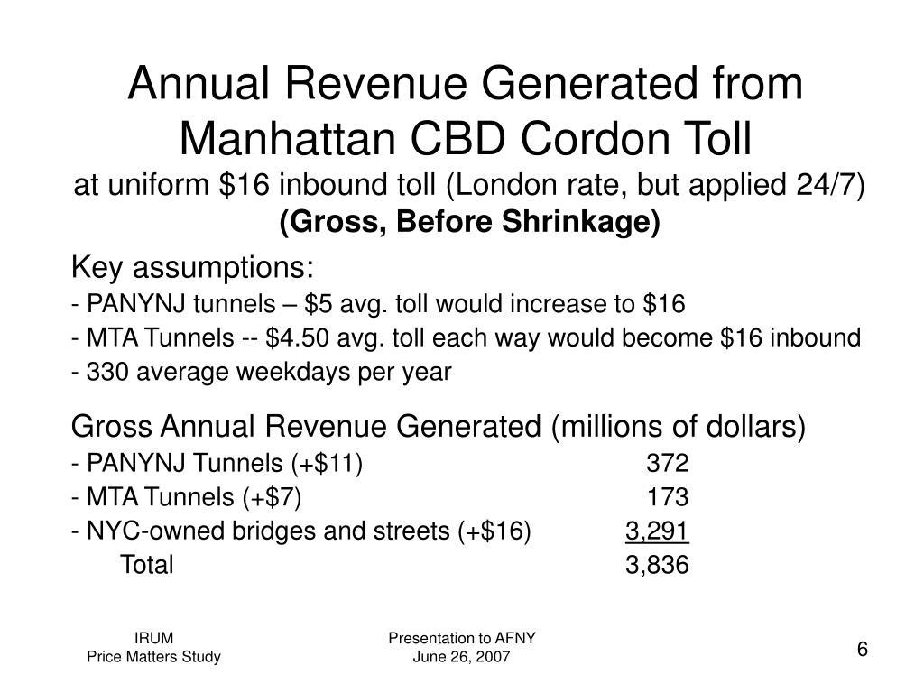 Annual Revenue Generated from Manhattan CBD Cordon Toll