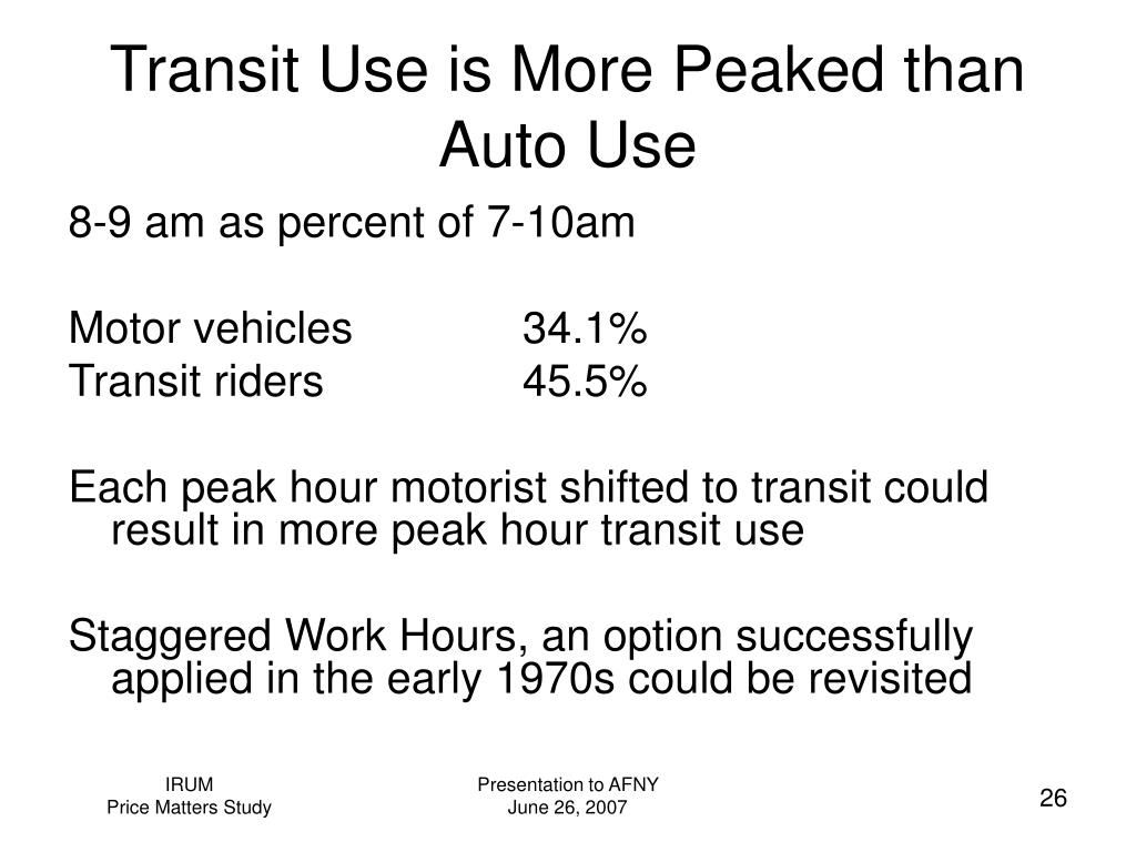 Transit Use is More Peaked than Auto Use