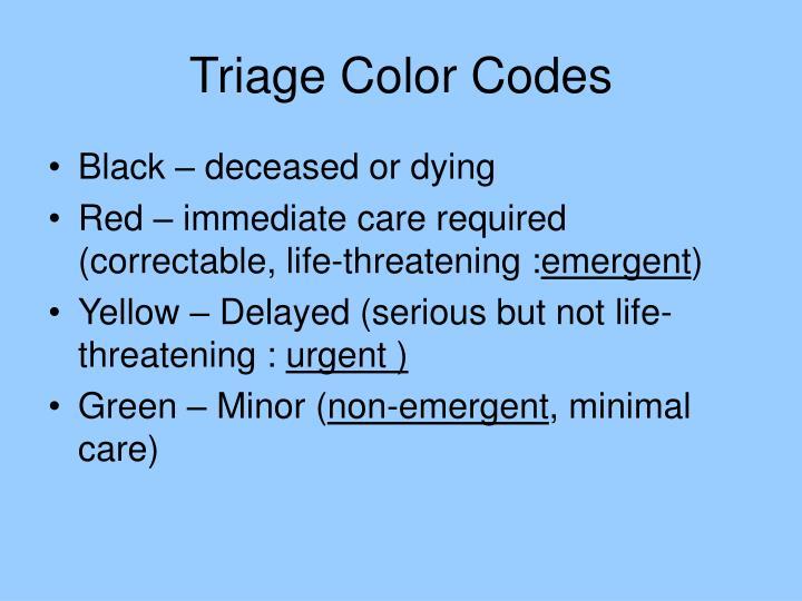 Triage Color Codes