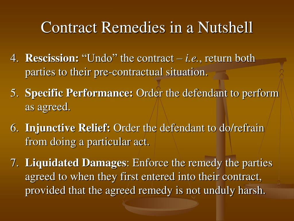 Contract Remedies in a Nutshell