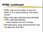html continued