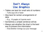 don t always use graphics