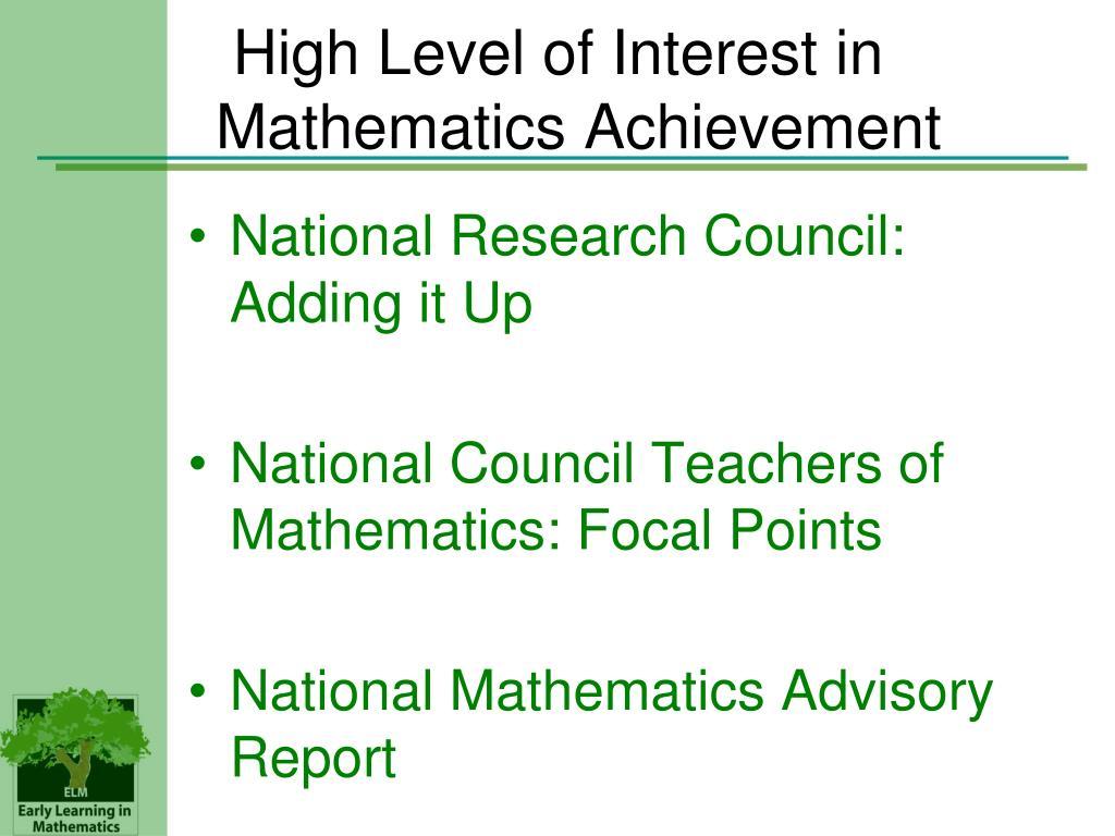 High Level of Interest in Mathematics Achievement