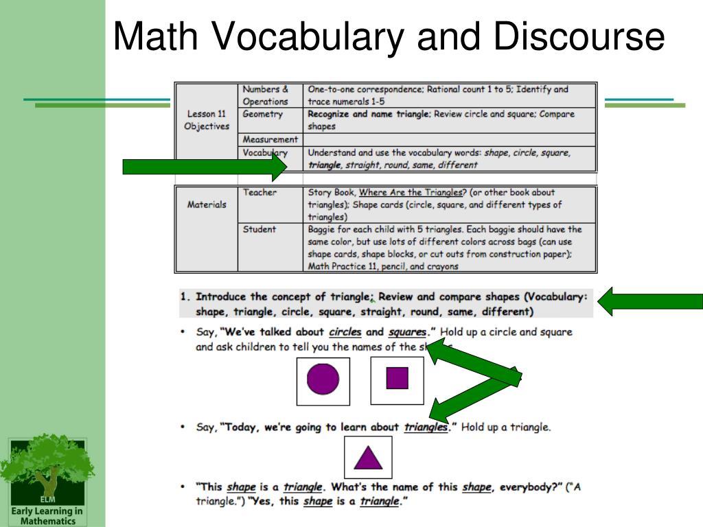 Math Vocabulary and Discourse