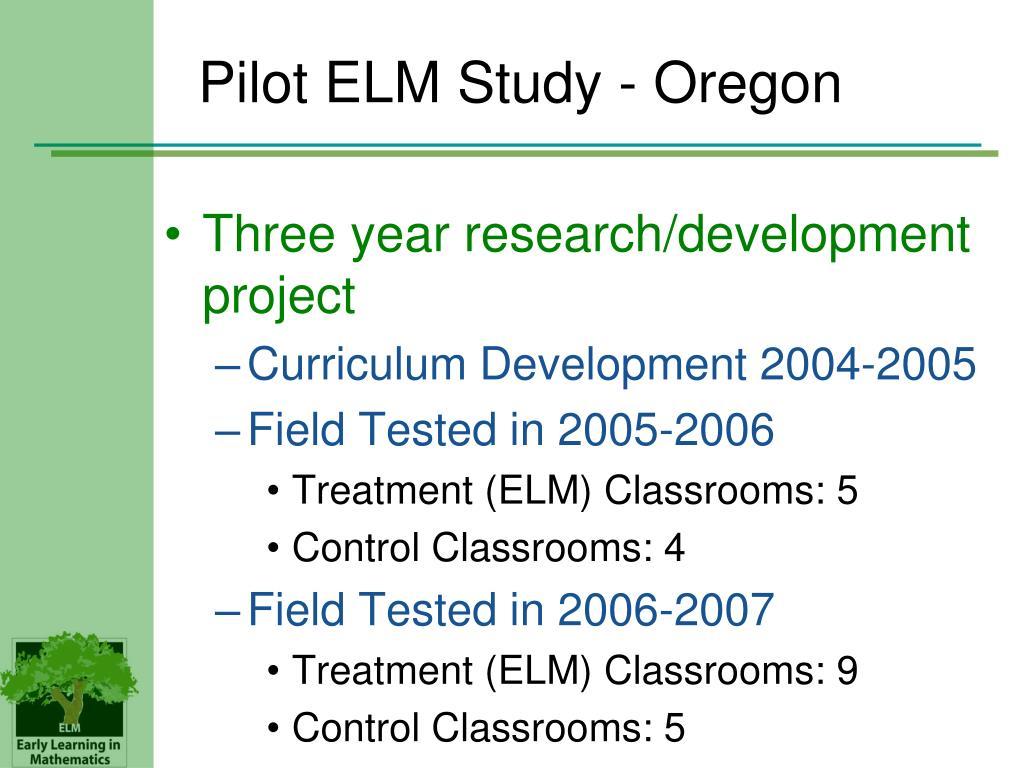 Pilot ELM Study - Oregon