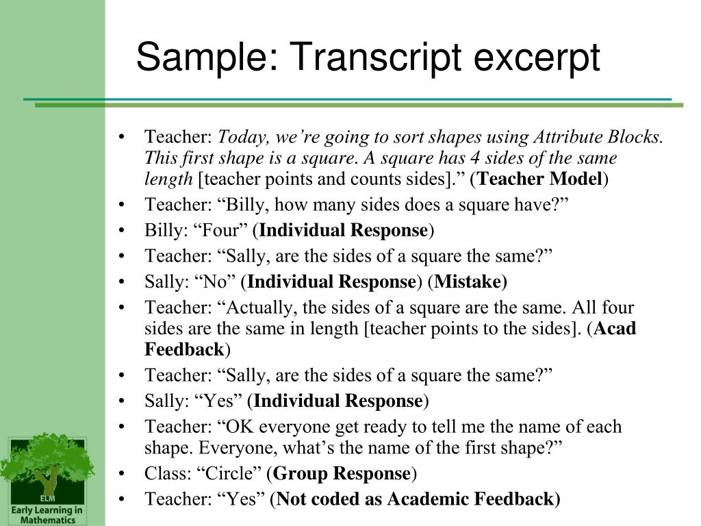 Sample: Transcript excerpt