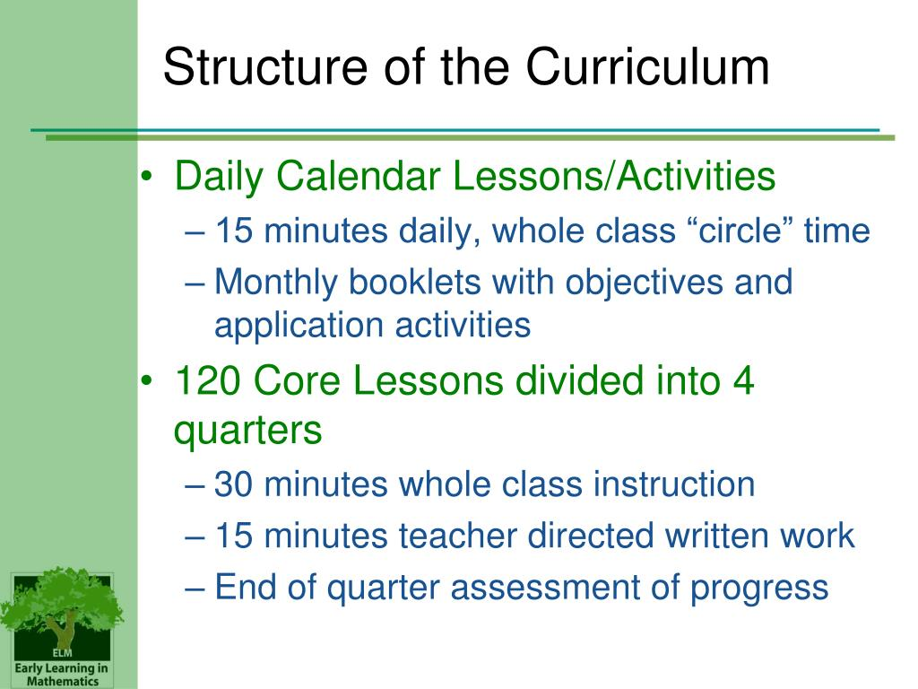 Structure of the Curriculum