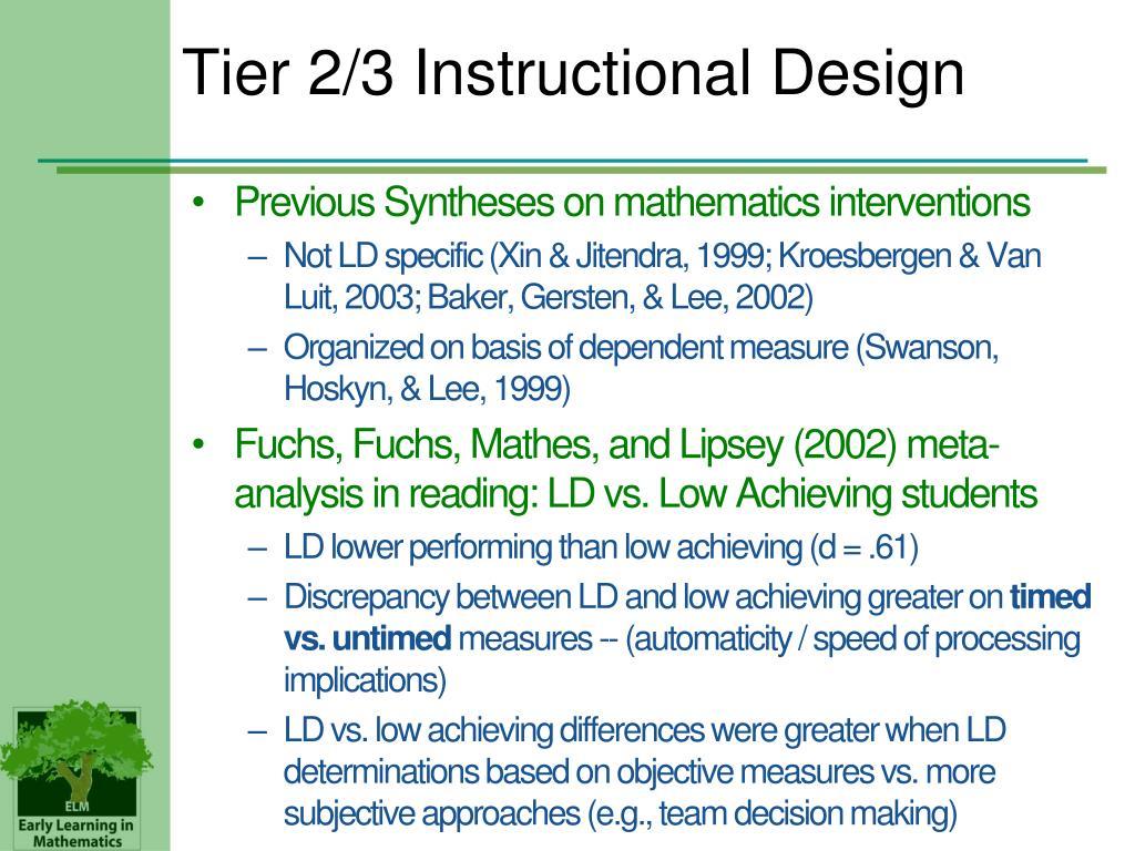 Tier 2/3 Instructional Design