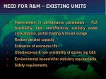 need for r m existing units