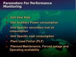 parameters for performance monitoring