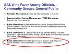 sas wins favor among officials community groups general public