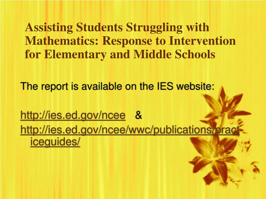 Assisting Students Struggling with Mathematics: Response to Intervention for Elementary and Middle Schools