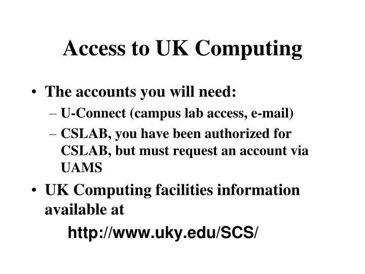 Access to uk computing