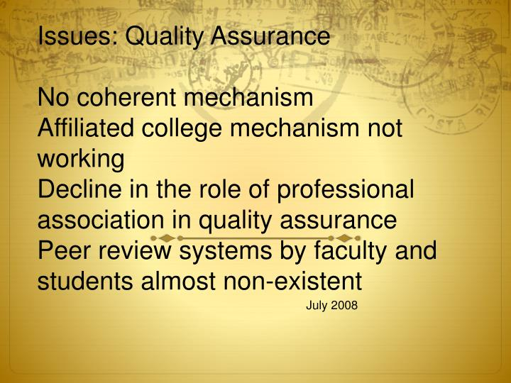 Issues: Quality Assurance