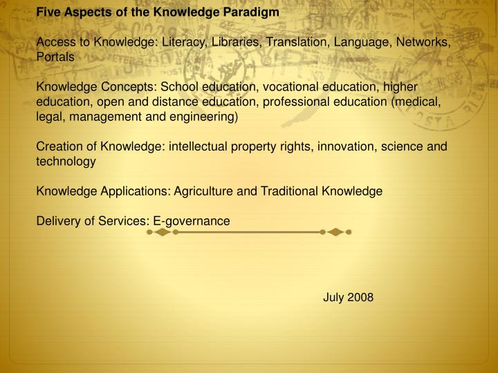 Five Aspects of the Knowledge Paradigm