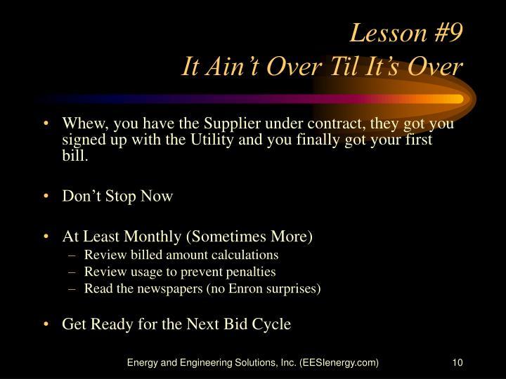 Lesson #9