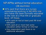 np apns without formal education 28 countries