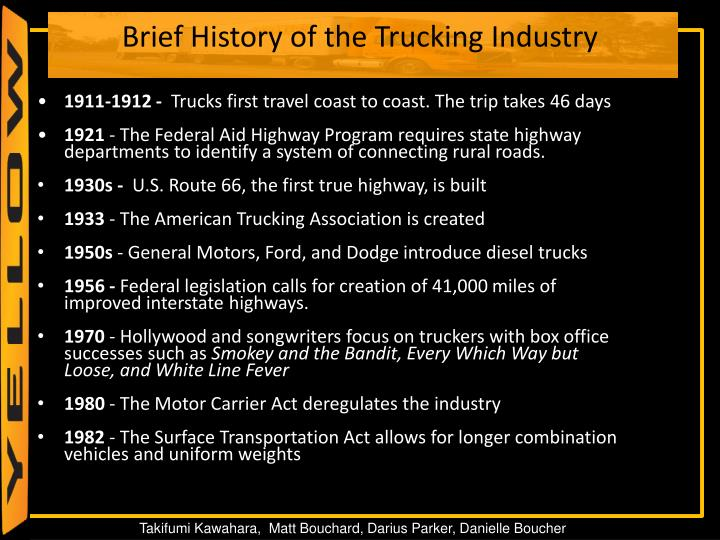 Brief history of the trucking industry