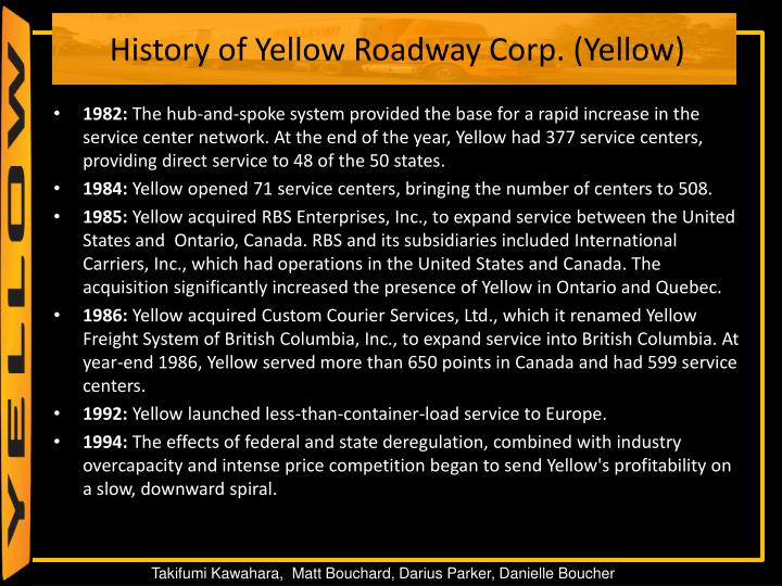 History of Yellow Roadway Corp. (Yellow)