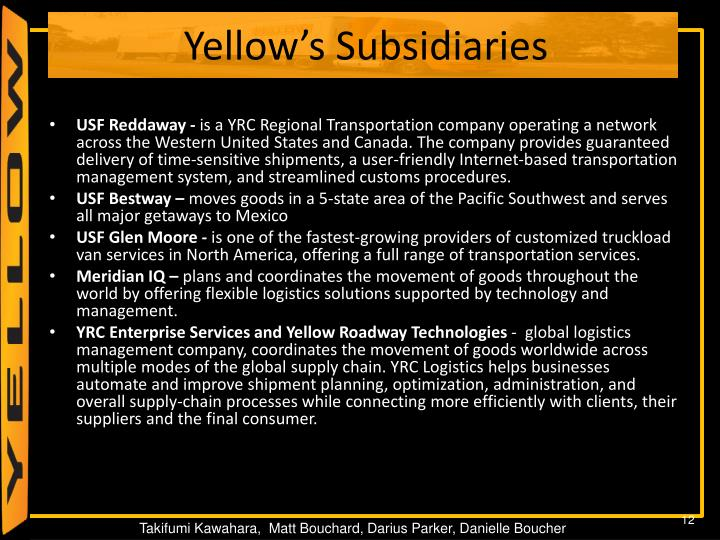 Yellow's Subsidiaries