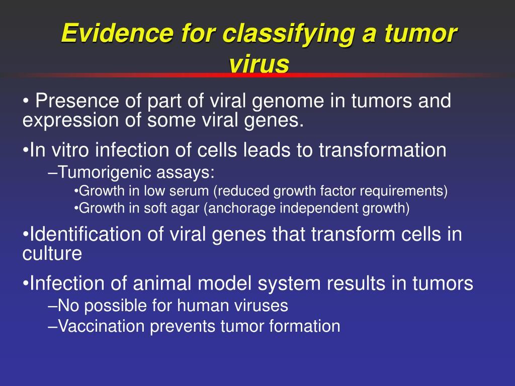 Evidence for classifying a tumor virus