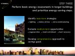 perform basic energy assessments in target buildings and prioritize energy saving steps