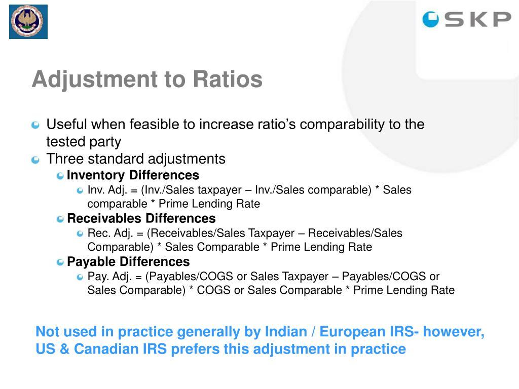 Adjustment to Ratios