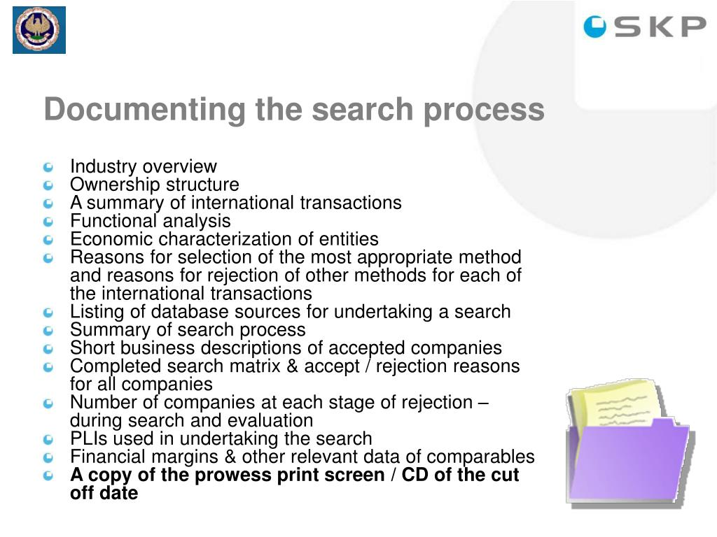 Documenting the search process