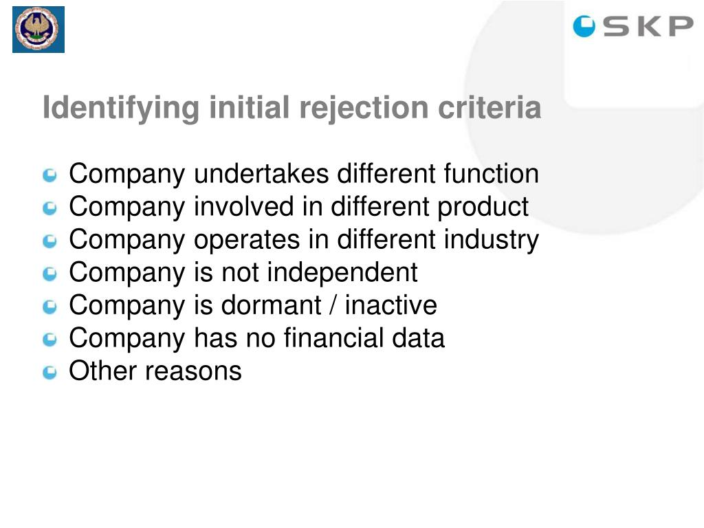 Identifying initial rejection criteria
