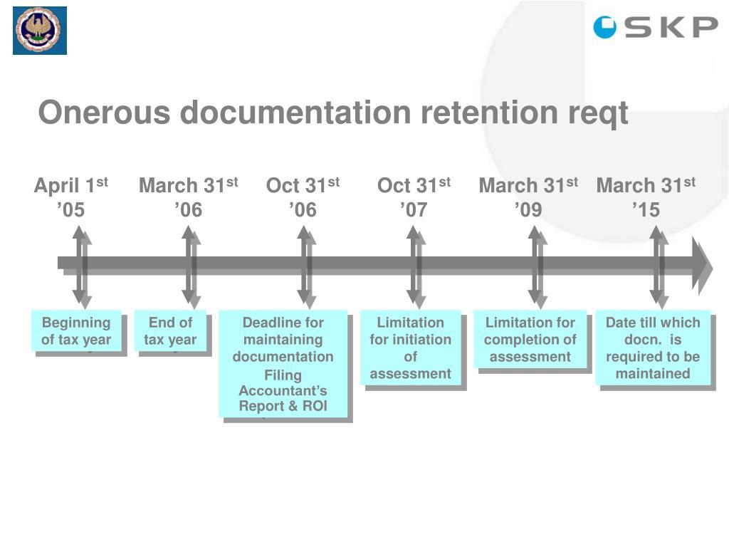 Onerous documentation retention reqt