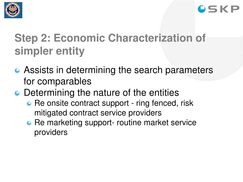 Step 2: Economic Characterization of simpler entity