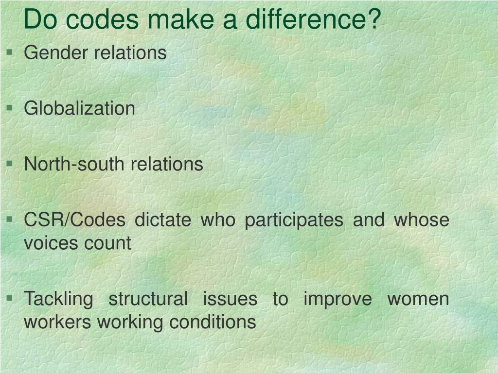 Do codes make a difference?