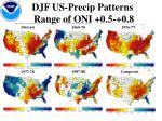 djf us precip patterns range of oni 0 5 0 8