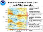 low level 850 hpa zonal east west wind anomalies