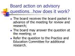 board action on advisory questions how does it work