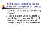 recent board advisories related to the expanding roles of licensee